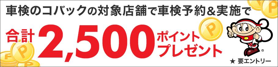 「車検のコバック」の対象店舗で車検予約・実施で2500ポイントキャンペーン!