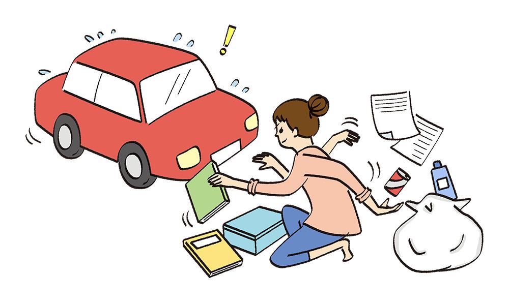 自動車の前で書類を整理する女性のイラスト
